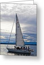Sailing At Dusk Greeting Card