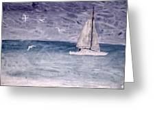Sailing At Night Nautical Painting Print Greeting Card
