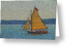 Sailing At Spruce Point Boothbay Harbor Maine Greeting Card