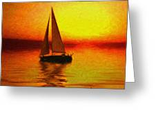 Sailing At Sunset Greeting Card by Anthony Caruso