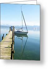 Sailing Boat And Reflection By Lake Pier Greeting Card