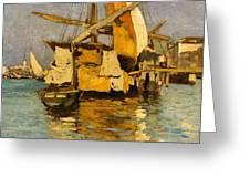 Sailing Boat On The Canale Della Giudecca Greeting Card