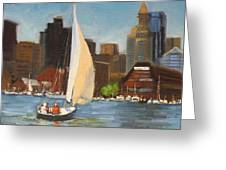 Sailing Boston Harbor Greeting Card