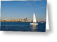 Sailing By Seattle Greeting Card