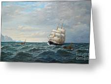 Sailing By The Coas Greeting Card