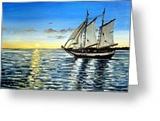 Sailing Day Sunset Greeting Card