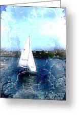 Sailing In Boston Harbor Greeting Card