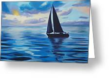Sailing In Cerulean Blue Greeting Card
