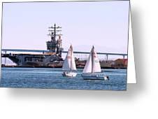 Sailing In San Deigo Greeting Card
