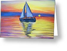 Sailing Into The Sunset Greeting Card