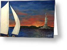 Sailing Liberty Greeting Card