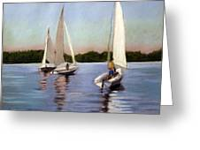 Sailing On The Charles Greeting Card by Lenore Gaudet