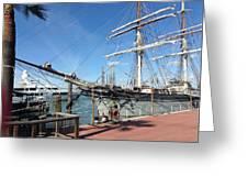 Sailing Ship At Galveston Greeting Card