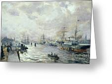 Sailing Ships In The Port Of Hamburg Greeting Card