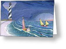 Sailing Snowmen Greeting Card by Thomas Griffin