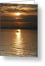 Sailing The Great Salt Lake At Sunset Greeting Card