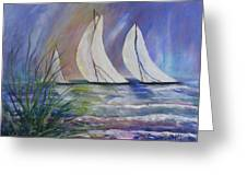 Sailing The Windy Sea Greeting Card