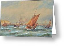Sailing Vessels Off A Harbour Entrance Greeting Card