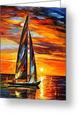 Sailing With The Sun - Palette Knife Oil Painting On Canvas By Leonid Afremov Greeting Card