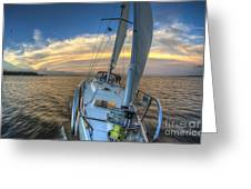 Sailing Yacht And Tropical Storm Ana Outflow  Greeting Card