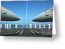 Sailors Aboard The Aircraft Carrier Uss Nimitz  Greeting Card