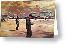 Sailors And Food Trucks Greeting Card