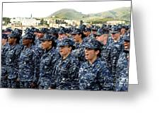 Sailors Yell Before An All-hands Call Greeting Card