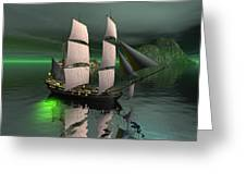 Sailship In The Night Greeting Card