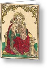 Saint Anne, The Madonna And Child, And A Franciscan Monk Greeting Card