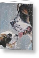 Saint Bernard Dad And Pup Greeting Card