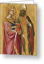 Saint Catherine And A Bishop Saint Possibly Saint Regulus Greeting Card