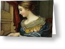 Saint Cecilia Playing The Organ Greeting Card