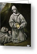 Saint Francis And Brother Leo Meditating On Death Greeting Card