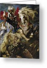 Saint George Battles The Dragon Greeting Card