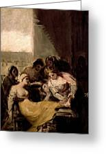 Saint Isabel Of Portugal Healing The Wounds Of A Sick Woman Greeting Card