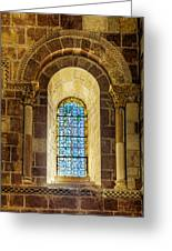 Saint Isidore - Romanesque Window With Stained Glass Greeting Card