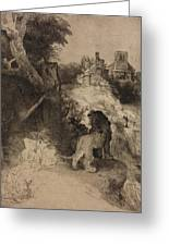 Saint Jerome In An Italian Landscape Greeting Card