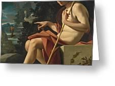 Saint John The Baptist In A Landscape Greeting Card