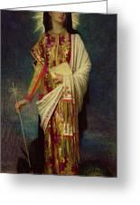 Saint Margaret Slaying The Dragon Greeting Card by Antoine Auguste Ernest Herbert