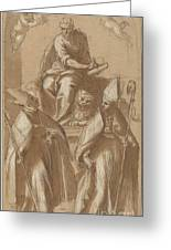 Saint Mark With Two Bishops And Putti Greeting Card