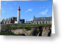Saint-mathieu Lighthouse And The Ruins Of The Abbey Of Saintlmat Greeting Card