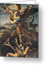 Saint Michael Overwhelming The Demon Greeting Card