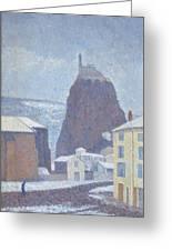 Saint Michel D Aiguilhe Haute Loire Under Snow 1890 Greeting Card