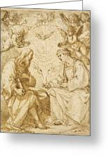 Saint Paul And Saint Stephen Crowned By Angels Greeting Card