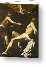 Saint Sebastian Succoured By The Angels Greeting Card