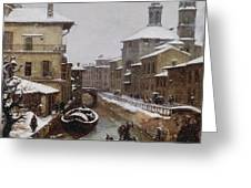 Saint Sophia Canal Covered In Snow Greeting Card