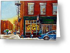 Saint Viareur And Park Avenue Bagel Shop Greeting Card