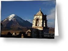 Sajama Volcano And Lagunas Church Belfry Bolivia Greeting Card