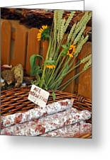Salami For Slae With Wheat Greeting Card