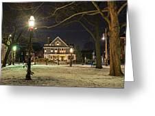 Salem Commons Winter Snow At Christmas Salem Ma Greeting Card